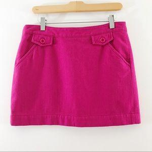 Fossil Pink Wool Blend Mini Skirt w Pockets